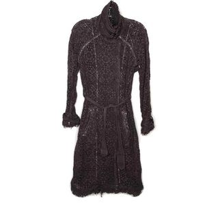 Free People Dyed Brown Floral Lace Trench Coat XS